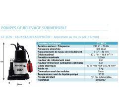 Pompe de relevage submersible EVACFLO CT3674 Réf:80060021