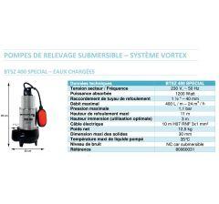 pompe de relevage BTSZ 400 SPECIAL- Avec systéme Vortex-Eaux chargées-Réf:80060031