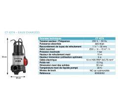Pompe de relevage submersible CT4274-Eaux chargées-Réf:80060002