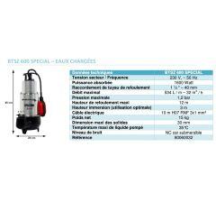 Pompe de relevage avec système Vortex-BTSZ 600 SPECIAL-Eaux chargées-Réf:80060032