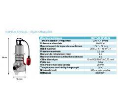 Pompe de relevage avec système vortex-Neptun Spécial Eaux Chargées-Réf:80060041
