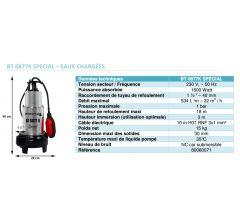 Pompe de relevage submersible avec système de broyeur-BT-6877K Spécial eaux chargées Réf:80060071