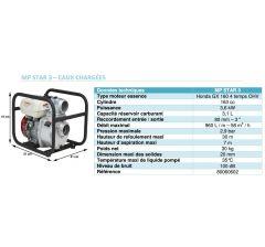 Moto pompe STAR 3 - 58 M3/H  Eaux chargées -Moteur Honda-GX 160-Réf:80060602 ◘◘