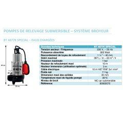 Pompe de relevage BT 4877K-avec système broyeur-Special Eaux chargées-Réf:80060070
